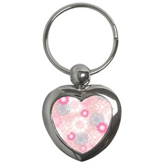 Flower Floral Sunflower Rose Pink Key Chains (heart)  by Alisyart