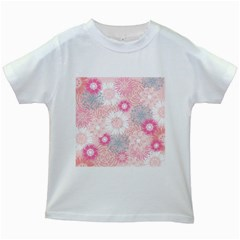 Flower Floral Sunflower Rose Pink Kids White T Shirts by Alisyart