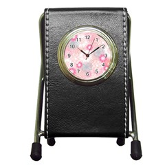 Flower Floral Sunflower Rose Pink Pen Holder Desk Clocks by Alisyart