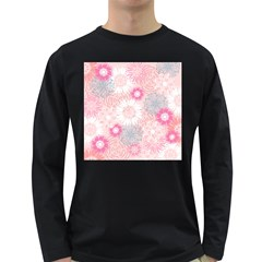 Flower Floral Sunflower Rose Pink Long Sleeve Dark T-shirts by Alisyart