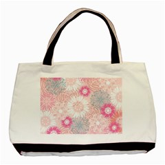 Flower Floral Sunflower Rose Pink Basic Tote Bag by Alisyart