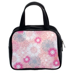 Flower Floral Sunflower Rose Pink Classic Handbags (2 Sides)