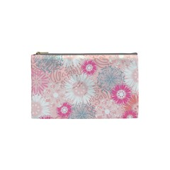 Flower Floral Sunflower Rose Pink Cosmetic Bag (small)  by Alisyart