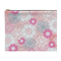 Flower Floral Sunflower Rose Pink Cosmetic Bag (xl)