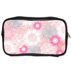 Flower Floral Sunflower Rose Pink Toiletries Bags 2 Side by Alisyart