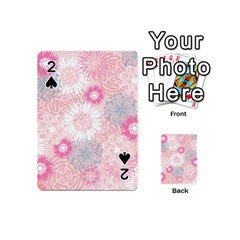 Flower Floral Sunflower Rose Pink Playing Cards 54 (mini)  by Alisyart