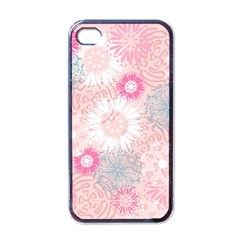 Flower Floral Sunflower Rose Pink Apple Iphone 4 Case (black) by Alisyart