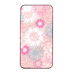 Flower Floral Sunflower Rose Pink Apple Iphone 4/4s Seamless Case (black) by Alisyart