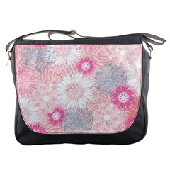 Flower Floral Sunflower Rose Pink Messenger Bags by Alisyart