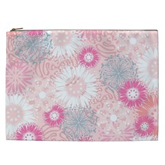 Flower Floral Sunflower Rose Pink Cosmetic Bag (xxl)  by Alisyart