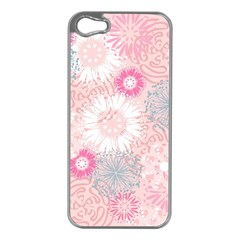 Flower Floral Sunflower Rose Pink Apple Iphone 5 Case (silver) by Alisyart