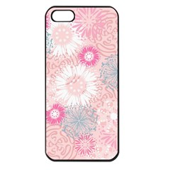 Flower Floral Sunflower Rose Pink Apple Iphone 5 Seamless Case (black)