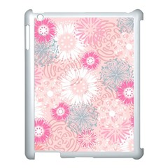 Flower Floral Sunflower Rose Pink Apple Ipad 3/4 Case (white) by Alisyart