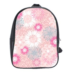 Flower Floral Sunflower Rose Pink School Bags (xl)  by Alisyart