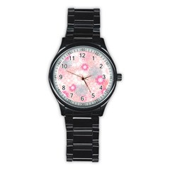 Flower Floral Sunflower Rose Pink Stainless Steel Round Watch by Alisyart