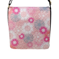 Flower Floral Sunflower Rose Pink Flap Messenger Bag (l)