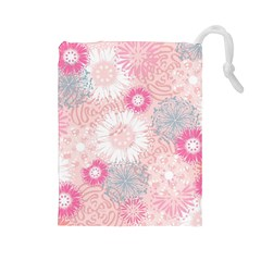 Flower Floral Sunflower Rose Pink Drawstring Pouches (large)  by Alisyart