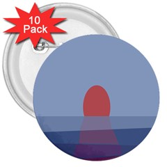 Sunrise Purple Orange Water Waves 3  Buttons (10 Pack)