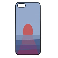 Sunrise Purple Orange Water Waves Apple Iphone 5 Seamless Case (black)
