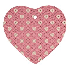 Pink Flower Floral Ornament (heart)
