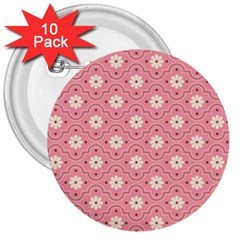 Pink Flower Floral 3  Buttons (10 Pack)  by Alisyart