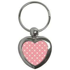 Pink Flower Floral Key Chains (heart)