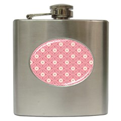 Pink Flower Floral Hip Flask (6 Oz) by Alisyart