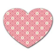 Pink Flower Floral Heart Mousepads by Alisyart