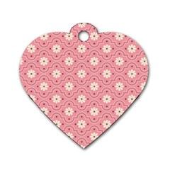 Pink Flower Floral Dog Tag Heart (two Sides)