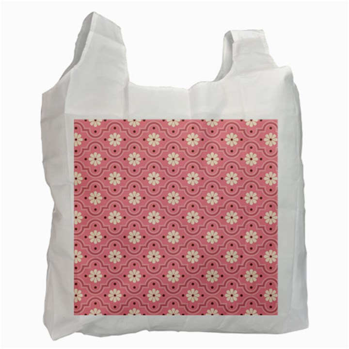 Pink Flower Floral Recycle Bag (One Side)