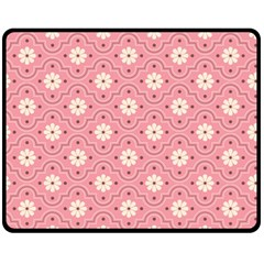 Pink Flower Floral Fleece Blanket (medium)  by Alisyart