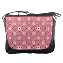 Pink Flower Floral Messenger Bags by Alisyart