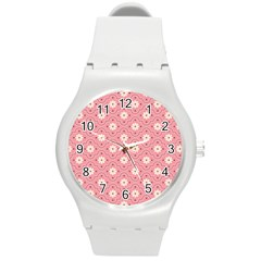 Pink Flower Floral Round Plastic Sport Watch (m) by Alisyart