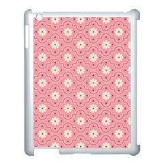 Pink Flower Floral Apple Ipad 3/4 Case (white)