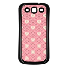 Pink Flower Floral Samsung Galaxy S3 Back Case (black) by Alisyart