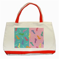 Socks Kids Blue Pink Yellow Purple Green Rainbow Classic Tote Bag (red) by Alisyart