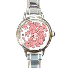 Flower Floral Pink Round Italian Charm Watch by Alisyart