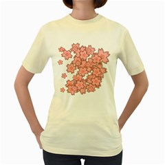 Flower Floral Pink Women s Yellow T-shirt by Alisyart