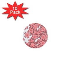 Flower Floral Pink 1  Mini Buttons (10 Pack)  by Alisyart