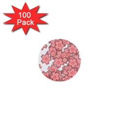 Flower Floral Pink 1  Mini Buttons (100 Pack)  by Alisyart