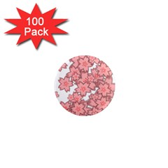 Flower Floral Pink 1  Mini Magnets (100 Pack)  by Alisyart