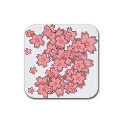 Flower Floral Pink Rubber Square Coaster (4 Pack)  by Alisyart