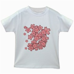Flower Floral Pink Kids White T Shirts by Alisyart