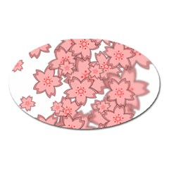 Flower Floral Pink Oval Magnet by Alisyart