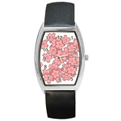 Flower Floral Pink Barrel Style Metal Watch by Alisyart