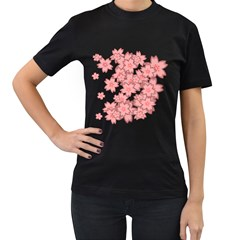 Flower Floral Pink Women s T Shirt (black) (two Sided)
