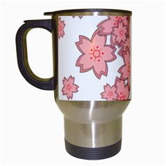 Flower Floral Pink Travel Mugs (white)