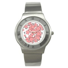 Flower Floral Pink Stainless Steel Watch by Alisyart