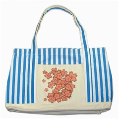 Flower Floral Pink Striped Blue Tote Bag by Alisyart