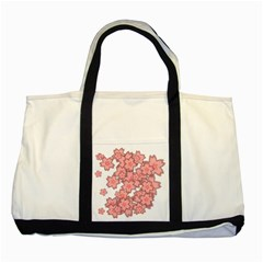 Flower Floral Pink Two Tone Tote Bag by Alisyart